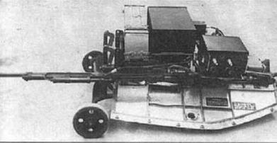 Лафет УТИ МиГ-15 (СТ-2) с аппаратурой ОСП-48, размещенной вместо пушки НР-23.