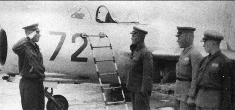 Внизу: Доклад техника о готовности к вылету МиГ-15 № 0315372