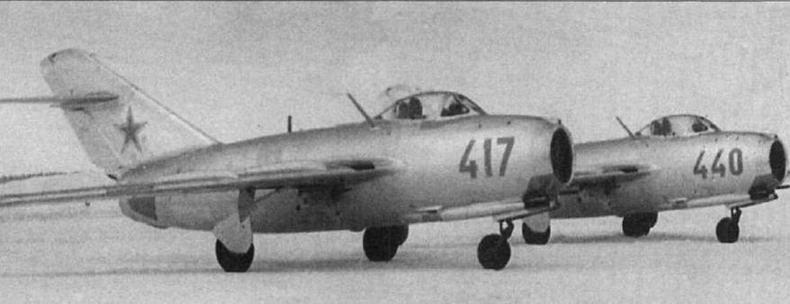 Истребители МиГ-15бис № 134017 и № 134040. Самолетами 34 серии завода №1 был вооружен 415 ИАП 133 ИАД.