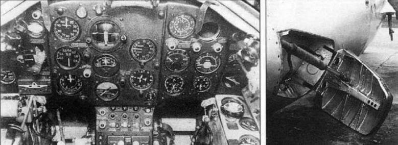 Приборная доска (слева) и тормозной щиток (справа) самолета МиГ-15 с ВК-1.