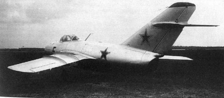 Опытный экземпляр истребителя МиГ-15 с двигателем ВК-1 на государственных испытаниях.