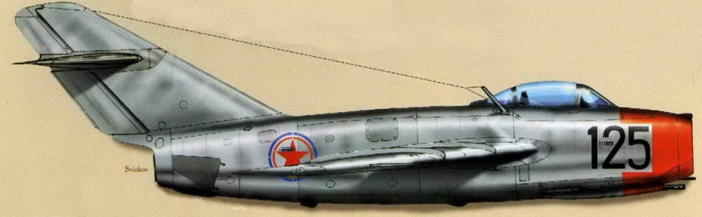 МиГ-15 №11 1025, летчик ст. л-т Гоголев, 2 АЭ, 176 ГвИАП, 324 И АД, аэродром Аньдун, апрель 1951 г.