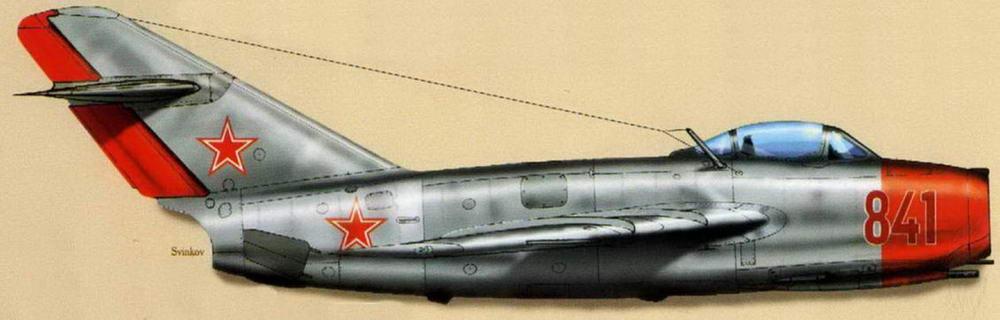 МиГ-15бис советских ВВС с ранними номерами и опознавательными знаками (фото на стр.22). 1951 г.