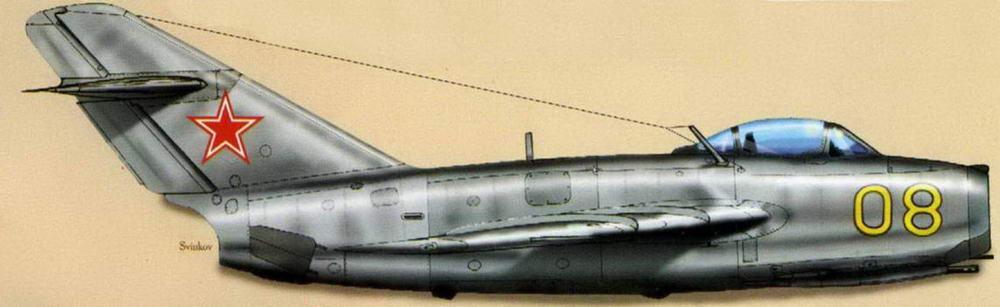 МиГ-15бис советских ВВС с номерами и опознавательными знаками, нанесенными в соответствии с постановлением 1955г.