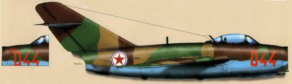 МиГ-15бис №134044 позднего выпуска с тормозными щитками 0,8 м<sup>2</sup>. Летчик м-р Панов, 415 ИАП 133 ИАД, аэродром Мукден-западный, май 1953 г.