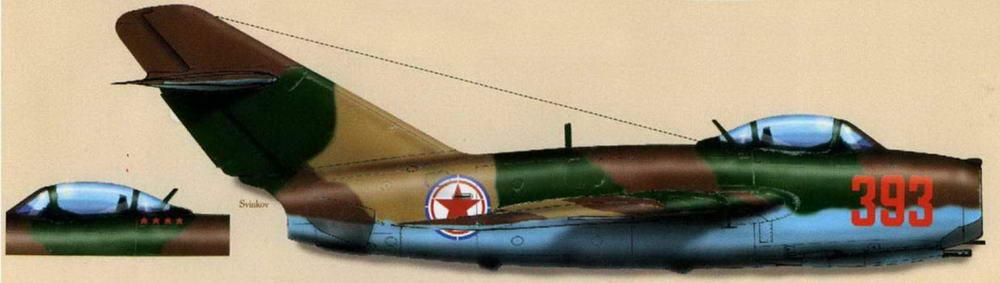 МиГ-15бис №2315393 позднего выпуска с тормозными щитками 0,8 м<sup>2</sup>. Летчик к-н Федорец, 913 ИАП 32 ИАД, аэродром Аньдун 12 апреля 1953 г.