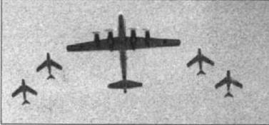 Ту-85 в сопровождении истребителей МиГ-15 на одном из воздушных парадов.