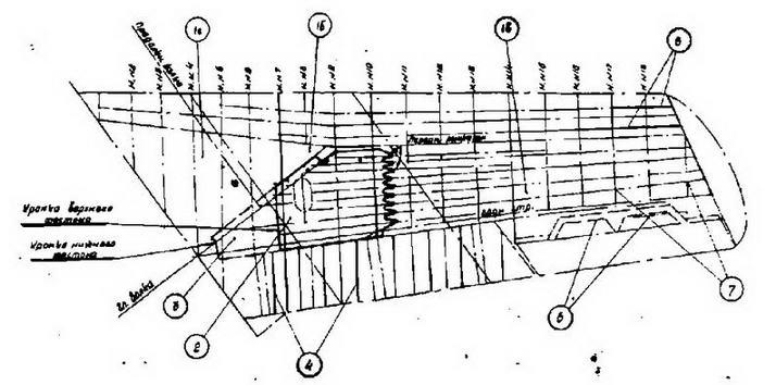 Схема увеличения жесткости крыла самолета МиГ-1 5бис № 122058