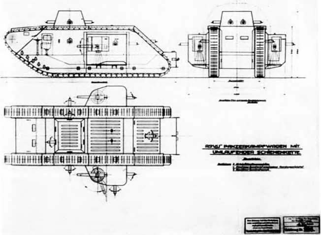 Эскизный проект танка A7VU-2. Обратим внимание на сектора обстрела вооружения танка.