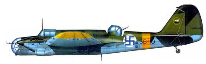 СБ-2М-103 поздней производственной серии (SB-10) из 2/LeLv 6.осень 1942 года. Финляндия получила эту машину 5 ноября 1941 года. С 13 августа 1942 года самолет действовал в составе 2/LeLv Типичный летний камуфляж финских ВВС.