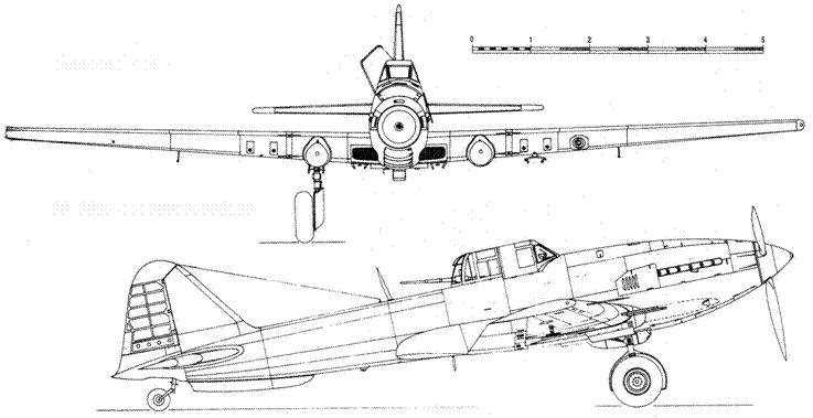 Ил-10М — вид спереди и сбоку
