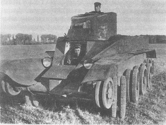 Опытный колёсно-гусеничный танк БТ-2 ИС на колёсном ходу