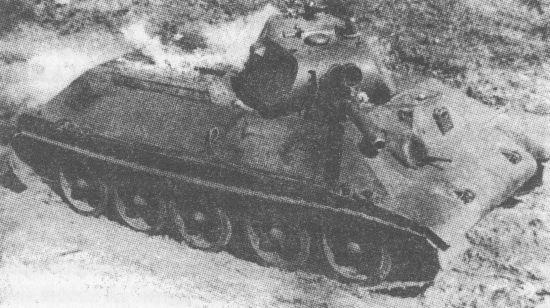 Второй опытный образец танка А-34 во время испытаний на пожароопасность. Весна 1940 года