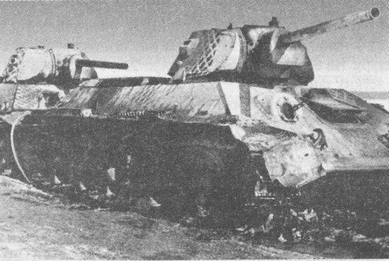 Подбитые «тридцатьчетвёрки» из состава 1-й гвардейской танковой бригады. Зима 1942 года