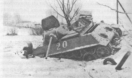 «Танк-истребитель» Т-34 с 57-мм пушкой ЗИС-4, подбитый на подступах к Москве. 21-я танковая бригада, 1941 год