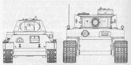 Сравнительные размеров танков Т-34 и «Тигр»