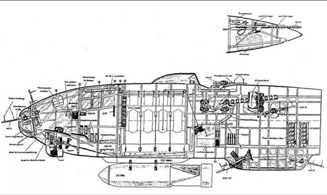 Компоновочная схема фюзеляжа Не 111Н-5