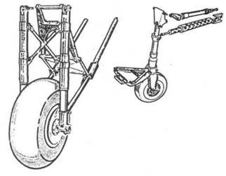 Основная стойка шасси и хвостовое колесо