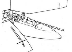 Размещение кормового пулемета MG 17 в хвостовой части фюзеляжа Не 111Р-1, Н-2, Н-4, Н-5 и т. д.