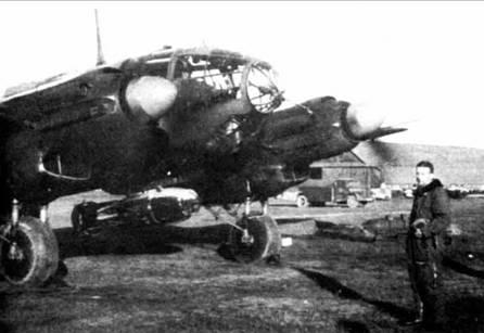 He 111H-5 из III./KG 26 с 1000 кг бомбой, весна 1940 г. На фюзеляже видна антенна системы X-Geraet.