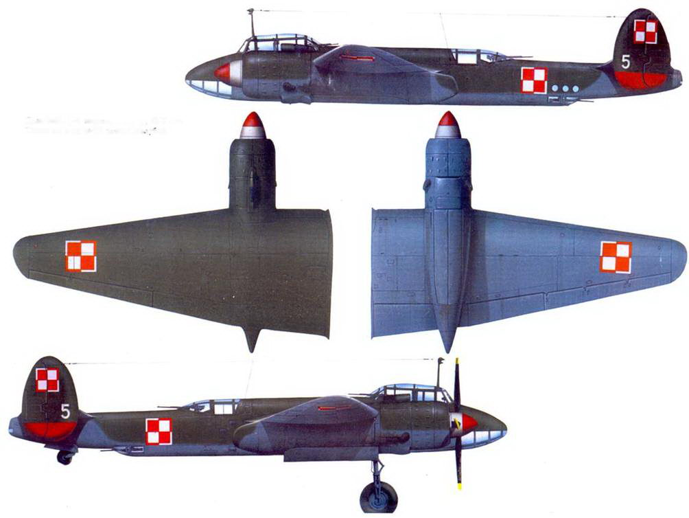 Польский Ту-2, морская авиация. 1956 год. Типичный камуфляж: зеленый/голубой