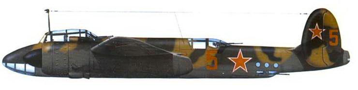 Ту-2, Закавказский ВО, 1947 год. Пятнистый камуфляж оливковый/песочный/черный, днище светло-серый.