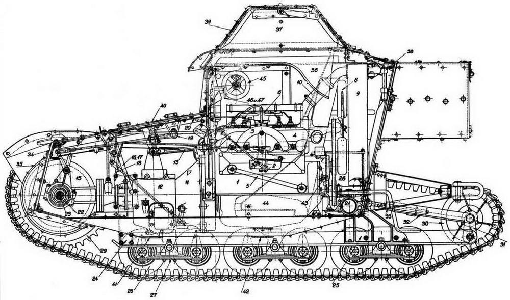 Компоновка танкетки Т-27 (фотокопия из «Наставления бронесил РККА»):