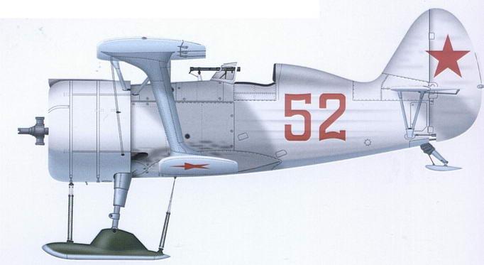 И-15бис на лыжах. Зима 1941-1942 гг., район Ленинграда
