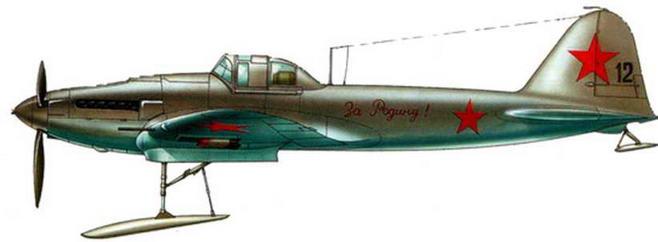 Одноместный штурмовик Ил-2 на лыжном шасси. Центральный фронт. Зима 1941-1942 годов.