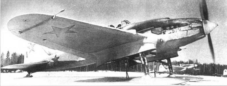 Штурмовик Ил-2 на лыжном шасси. Зима 1941-42 годов.