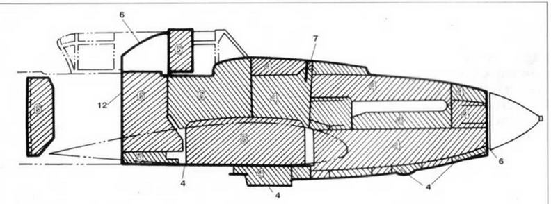 Схема толщин панелей бронекорпуса двухместного Ил-2 (толщина дана в мм).