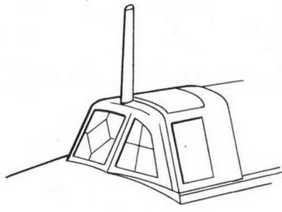 Установка приемопередающей радиоантенны на на козырьке фонаря кабины Ил-2КР