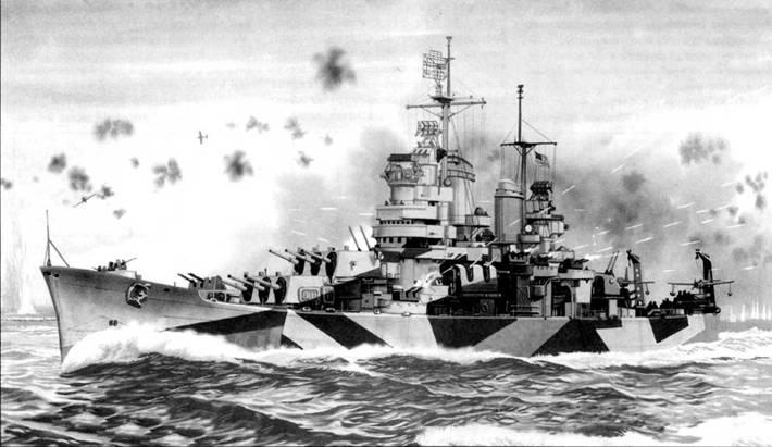 Крейсер «Балтимор» (СА-68) ведет огонь из всех своих зенитных орудий по приближающимся японским самолетам, Лусон, Филиппины, середина декабря 1944г. «Балтимор» в составе 3-го американского флота принимал участие в освобождении Филиппин от японской оккупации. Крейсер камуфлирован по схеме Measure 32/161) — Haze Gray/Ocean Gray/Navy Blue.