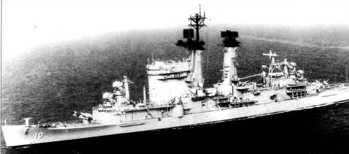 «Олбани» (CG-10, бывший СА-123)— первый чисто ракетный крейсер ВМС США. Ракетный крейсер вооружен <a href='https://arsenal-info.ru/b/book/3877475624/14' target='_self'>зенитно-ракетными комплексами</a> RIM-8 «Талос» (две шт.) и RIМ-24 «Тартар» (две шт.), а также ракетными системами противолодочного оружия RUR-5 ASROC и UUM-44 SUBROC. На дымовые трубы установлены «маски» для снижения ИК излучения, а на «масках» смонтированы антенны РЛС.