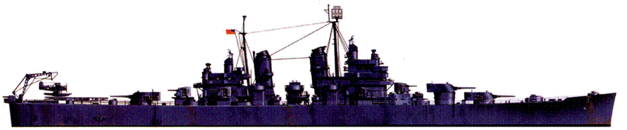 «Куинси» (СА-71) в окраске Measure 21, 1943г. Большую часть своей военной карьеры крейсер провел в европейских водах, поддерживал высадки в Нормандии и Южной Франции. Войну корабль закончил на Тихом океане.