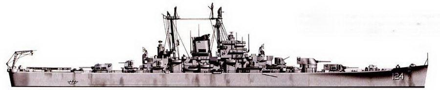 Крейсер «Рочестер» (СА-124) типа «Орегон Сити» в окраске Measure 27, Корен. Корабль целиком окрашен в цвет Haze Gray — стандартная послевоенная окраска кораблей ВМС США.
