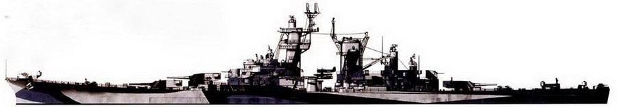 Крейсер «Гуам» (СВ-2) в камуфляжной окраске Measure 32/7С, Тихий океан, 1945г. В конце войны крейсера «Гуам» и «Аляска» эскортировали авианосцы и принимали участие в обстрелах японцев, засевших на островах. На катапульте — гидросамолет Кертис SC–I «Сихок».