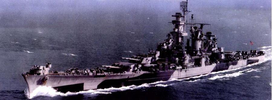 Крейсер «Аляска» (СВ-1)в камуфляжной окраске Measure 32/1d, Тихий океан, 1945 л «Аляска» и его систер-шип крейсер «ГуюI» на заключительном этапе Второй мировой войны эскортировали авианосцы соединения TF-58 в западной части Тихого океана.