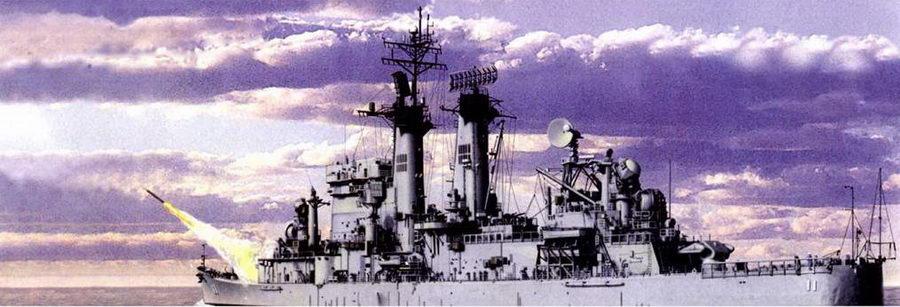 Пуск ракеты ЗРК «Талос» с ракетного крейсера «Чикаго» (CG-11, бывший CA-136). 9 мая 1972г. ракетой ЗРК «Талос», выпущенной крейсером «Чикаго», над Тонкинским заливом был сбит вьетнамский МиГ.