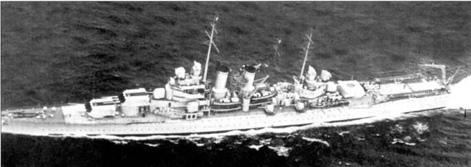 Крейсер «Уичита» ходил походами в составе Нейтрального патруля в Атлантике, который, несмотря на название, был направлен против Германии, защищая транспорты, доставлявшие грузы из США в Великобританию. Полосы на крышах двух носовых башен главного калибра, предположительно, красного цвета, диск на крыше кормовой башни главного калибра вероятнее всего голубой — знаки быстрого опознавания с воздуха кораблей ВМС США. Вооружение крейсера состояло из девяти 8-дюймовых орудий в трех трехорудийных башнях, восьми 5-дюймовых орудий (четыре в башнях и четыре — открыто) и восьми 12,7-мм пулеметов. Между дымовыми трубима установлена платформа для прожектора.