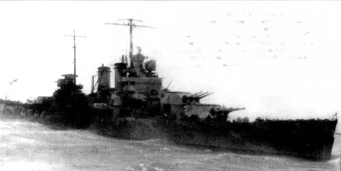 «Уичиту» в свежую погоду с трудом удерживают якоря. В тяжелый шторм в Хвальфьорде, Исландия, 10 января 1942г. якоря не удержали крейсер и он столкнулся с транспортом «Вест Ноно». «Уичита» при столкновении получила повреждения средней степени тяжести, после чего ее отправили в ремонт на военно-морскую верфь Нью-Йорк. Крейсер камуфлирован пятнами по схеме Measure 12.