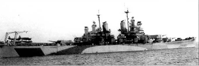 «Куинси» на Хэмптонском рейде, Вирджиния, 5 марта 1945г. отсюда через Панамский капал корабль перешел на Тихий океан. По прибытии в Перл-Харбор 20 марта 1945г. крейсер был включен в состав соединения TF-58 5-го флота, затем действовал в водах Окинавы и Японских островов. За бои на Тихом океане «Куинси» получил четыре боевых звезды.