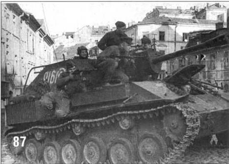 СУ-76М 1219 Самоходно-артиллерийского полка 8-го Гвардейского Танкового корпуса на улице Люблина. 1944 г.