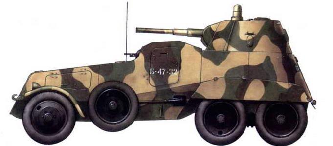 Бронеавтомобиль БА-11 из состава отдельного автобронебатальона 42-й армии. Ленинградский фронт, весна 1942 г.