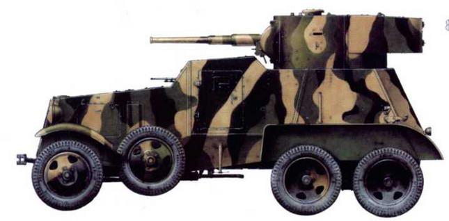 Бронеавтомобиль БА-6 из состава отдельного разведывательного батальона 1-й Краснознаменной танковой дивизии 1-го мехкорпуса. Северо-Западный фронт, район Красногвардейска, август 1941 г.