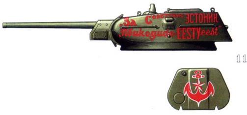 Т-34/76 из состава танковой колонны «За Советскую Эстонию» и его башенный люк с рисунком якоря.