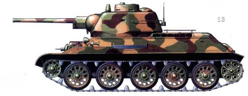 Т-34/76 4-й Гвардейской танковой армии. Район Львова, лето 1944 г.
