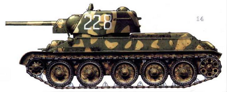 Т-34/76 в двухцветном камуфляже. Ленинградский фронт, 1944 г.