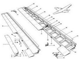 Конструкция элерона и триммера Р-51В/С.