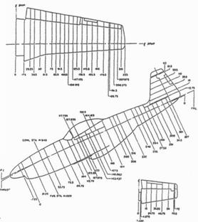 Места крепления листов обшивки к шпангоутам и нервюрам на P-51D. Обозначения те же, что и на предыдущем рисунке. Обратите внимание, что расположение шпангоутов немного изменилось.